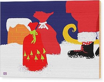 Wood Print featuring the digital art Ho Ho Ho by Barbara Moignard