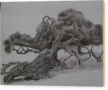 Hobbit Tree Wood Print by Joan Pye