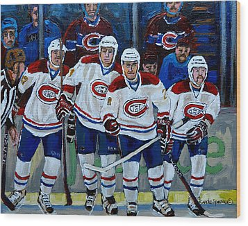 Hockey Art At Bell Center Montreal Wood Print by Carole Spandau
