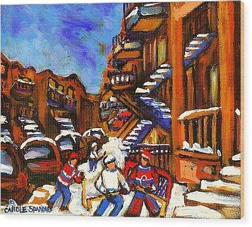 Hockey Art Boys Playing Street Hockey Montreal City Scene Wood Print by Carole Spandau