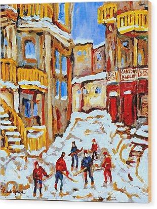 Hockey Art Montreal City Streets Boys Playing Hockey Wood Print by Carole Spandau