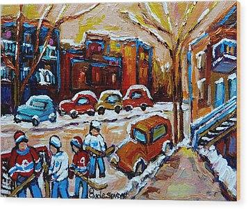 Hockey Art Montreal Staircases In Winter Wood Print by Carole Spandau