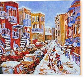 Hockey Art Streets Of Montreal Hockey Paintings Wood Print by Carole Spandau