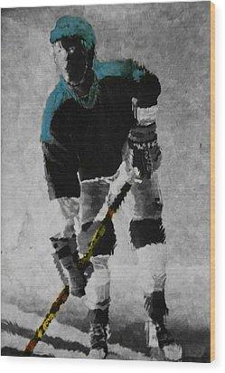 Hockey Dude Wood Print by Kenneth Drylie