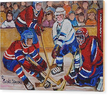 Hockey Game Scoring The Goal Wood Print by Carole Spandau