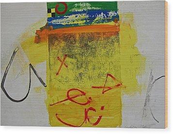 Hockey Glyphs  Wood Print by Cliff Spohn
