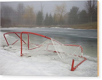 Hockey Net On Frozen Pond Wood Print by Perry McKenna Photography