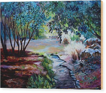 Wood Print featuring the painting Hodges Garden Stream by AnnE Dentler