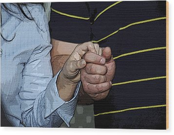 Holding Hands Wood Print by Carolyn Marshall