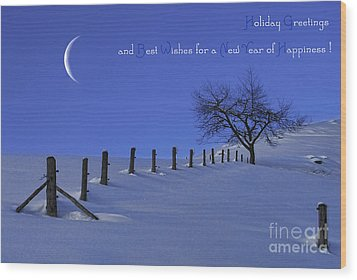 Holiday Greetings Wood Print by Sabine Jacobs