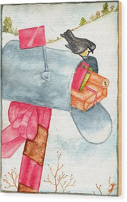 Wood Print featuring the painting Holiday Mail by Paula Ayers