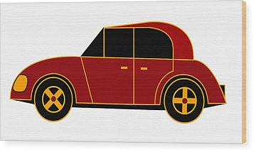 Hollande's Beach Car - Virtual Car Wood Print by Asbjorn Lonvig