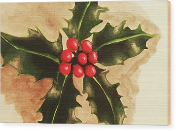 Holly And Ivy Wood Print