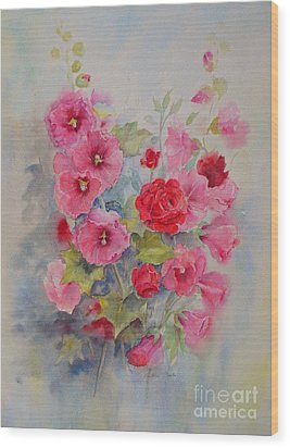Wood Print featuring the painting Hollyhocks And Red Roses by Beatrice Cloake