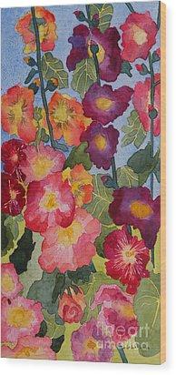 Hollyhocks In Bloom Wood Print by Kimberlee Weisker