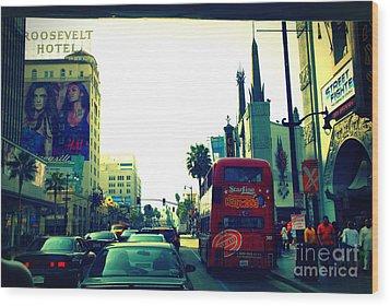Hollywood Boulevard In La Wood Print by Susanne Van Hulst