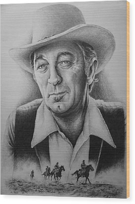 Hollywood Greats -robert Mitchum Wood Print by Andrew Read