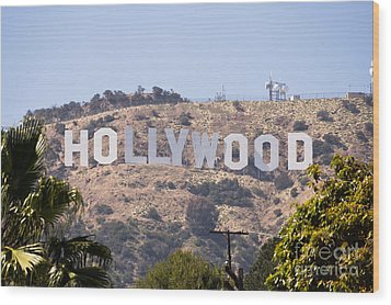 Hollywood Sign Photo Wood Print by Paul Velgos