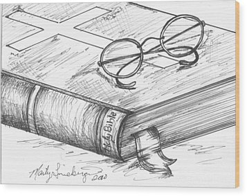 Holy Bible Wood Print by Marty Lineberger