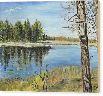 Home At Dragonfly Pond Wood Print