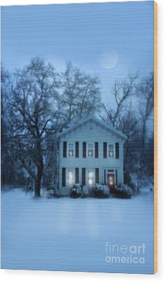Home On A Wintery Evening Wood Print by Jill Battaglia