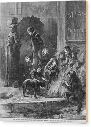 Homeless Women And Children Heating Wood Print by Everett