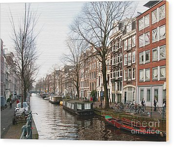 Wood Print featuring the digital art Homes Along The Canal In Amsterdam by Carol Ailles