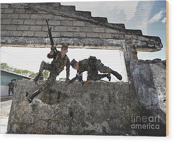 Honduran Army Soldiers Perform Building Wood Print by Stocktrek Images