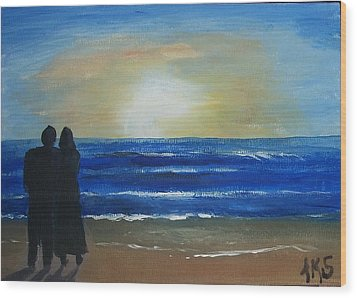 Wood Print featuring the painting Honeymoon by Angela Stout