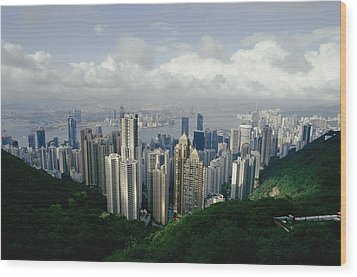 Hong Kong Island And The Bay Wood Print by Jason Edwards