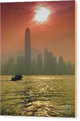 Hong Kong Sunset Wood Print by Bibhash Chaudhuri