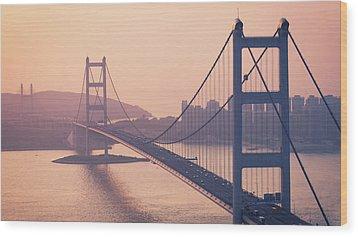 Hong Kong Tsing Ma Bridge At Sunset Wood Print by Yiu Yu Hoi