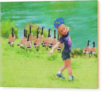 Honker Ballet Princess Wood Print by Cindy Wright