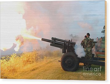 Honor Guard Members Fire A 105 Mm Wood Print by Stocktrek Images