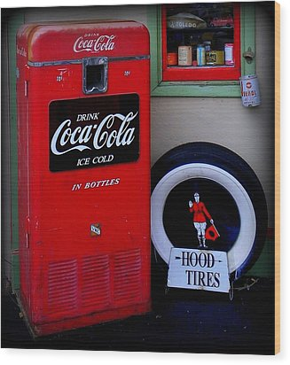 Hood Tires Cocacola Wood Print by Randall Weidner