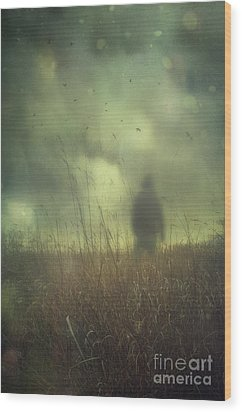 Hooded Man Walking In Field With Storm Clouds Wood Print by Sandra Cunningham