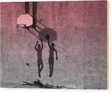 Wood Print featuring the photograph Hoop Boys by Clarice  Lakota