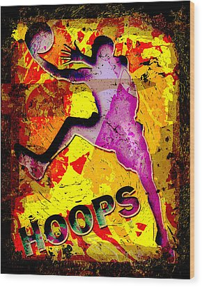 Hoops Basketball Player Abstract Wood Print by David G Paul