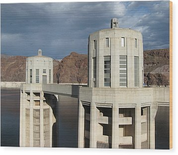 Hoover Dam Wood Print by Michelle Wolff