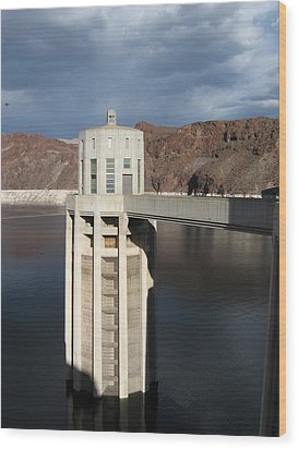 Hoover Dam Single Tower Wood Print by Michelle Wolff
