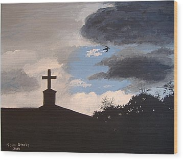 Wood Print featuring the painting Hope In The Storm by Norm Starks