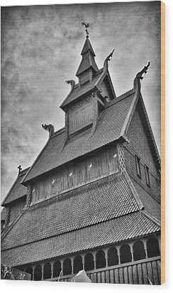 Hopperstad Stave Church Wood Print by A A