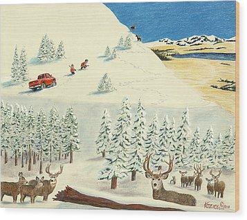 Horn Hunters Wood Print by Tim Koziol