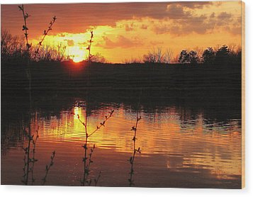 Horn Pond Sunset 8 Wood Print