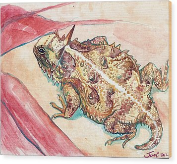 Wood Print featuring the painting Horny Toad by Jenn Cunningham