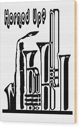 Hornz Card Wood Print by Jann Paxton