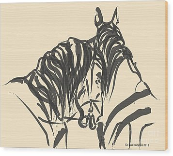 Horse - Together 9 Wood Print by Go Van Kampen