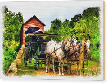 Horse And Buggy In Front Of Covered Bridge Wood Print by Dan Friend