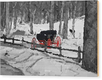 Wood Print featuring the photograph Horse And Buggy - No Work Today - Abstract by Janice Adomeit