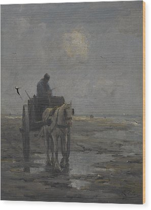 Horse And Cart Wood Print by Evert Pieters